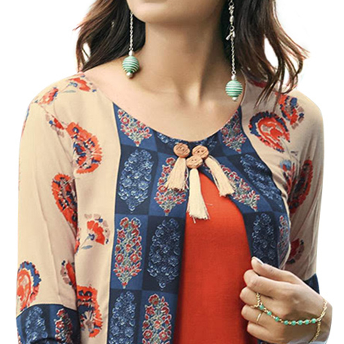 Exceptional Orange-Cream Colored Partywear Printed Rayon Long Kurti