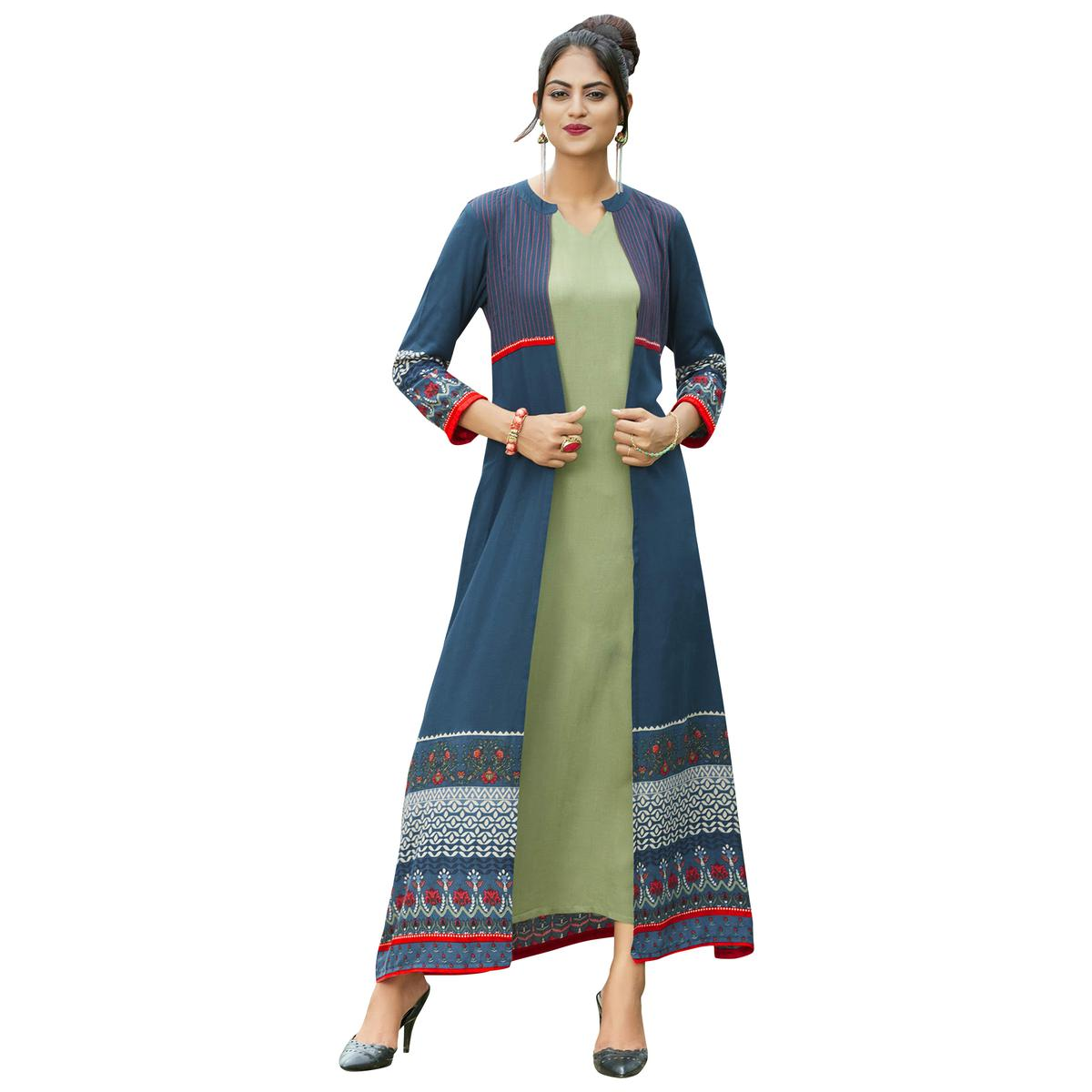 Beautiful Pastel Blue-Pastel Green Colored Partywear Printed Rayon Long Kurti