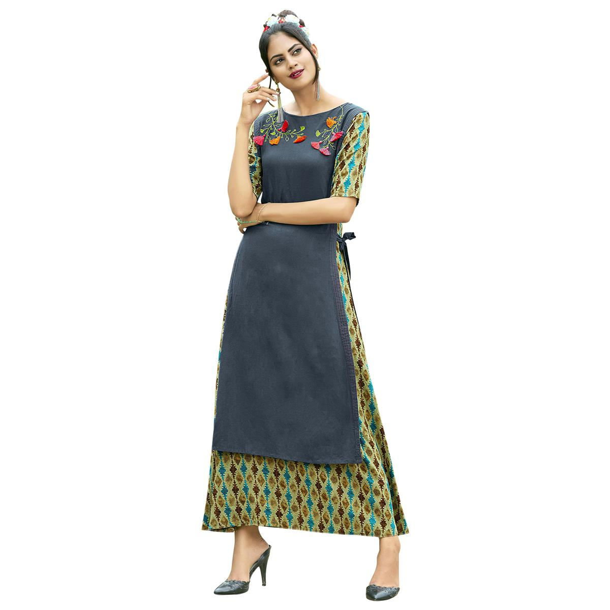 Amazing Gray Colored Partywear Printed Rayon Long Kurti