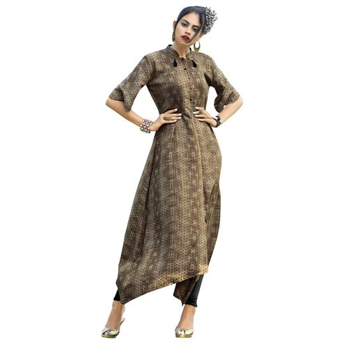 Groovy Light Brown Colored Partywear Printed Rayon Long Kurti
