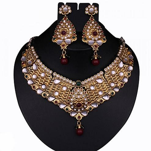 Vivaah Gold Plated Maroon & Green Kundan Pearl Necklace Set