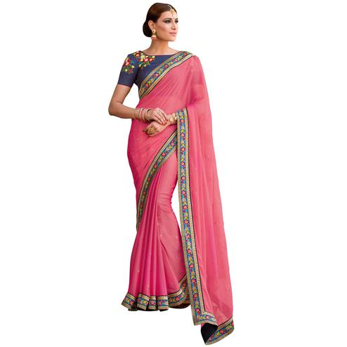 Impressive Pink Colored Partywear Embroidered Chiffon Saree
