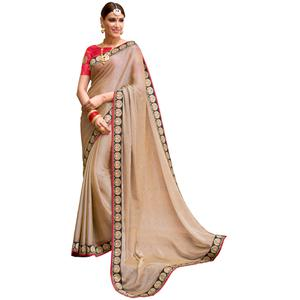 Arresting Beige Colored Partywear Embroidered Chiffon Saree