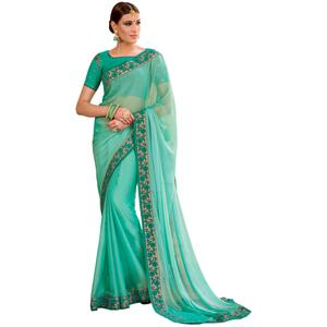 Demanding Aqua Green Colored Partywear Embroidered Chiffon Saree
