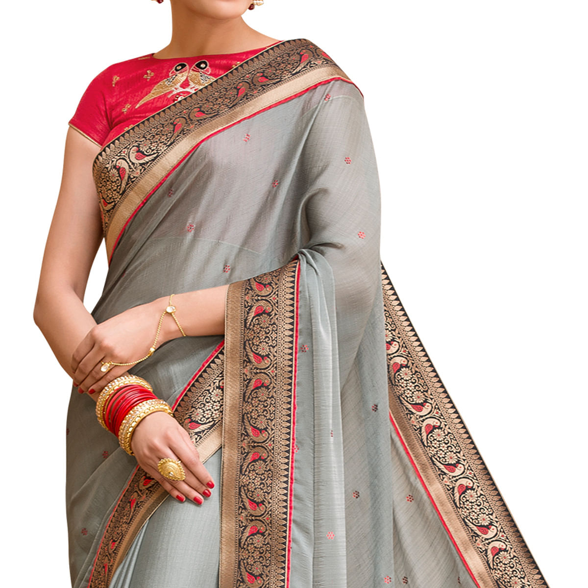 Desiring Gray Colored Partywear Embroidered Chiffon Saree