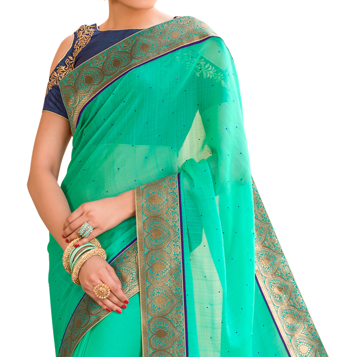 Eye-Catching Aqua Green Colored Partywear Embroidered Chiffon Saree