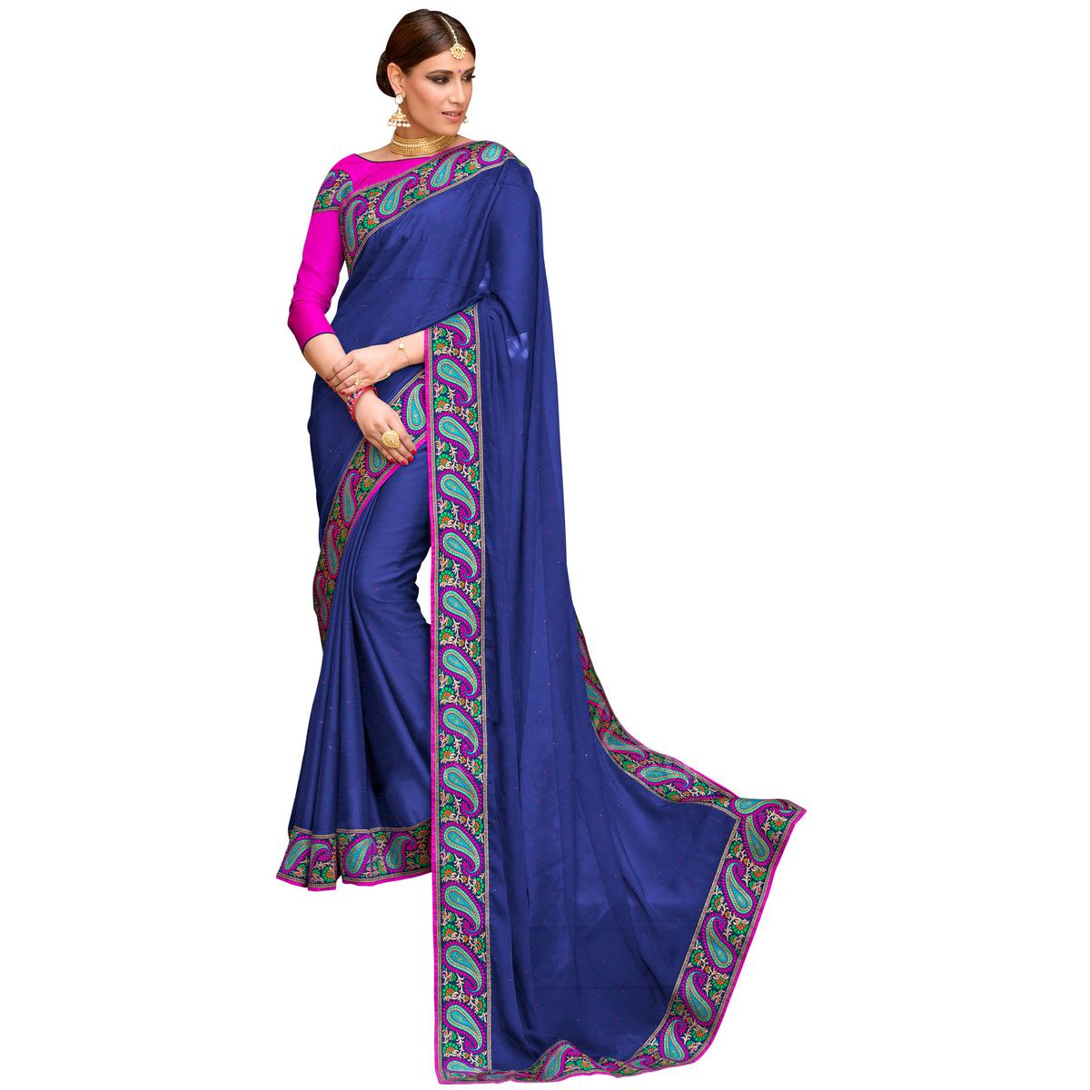 Arresting Navy Blue Colored Partywear Embroidered Chiffon Saree