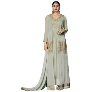 Impressive Light Green Colored Partywear Embroidered Georgette Abaya Style Anarkali Suit