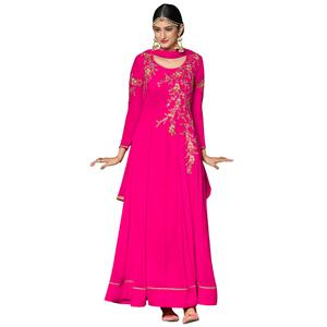 Charming Pink Colored Partywear Embroidered Georgette Anarkali Suit