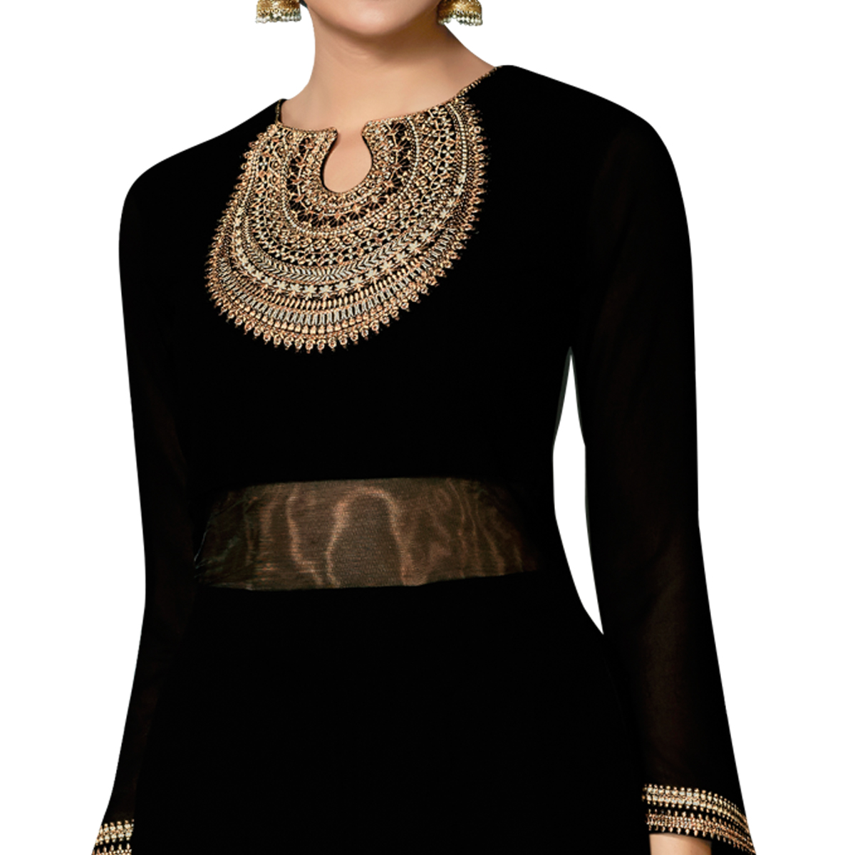 Hypnotic Black Colored Partywear Embroidered Georgette Abaya Style Anarkali Suit
