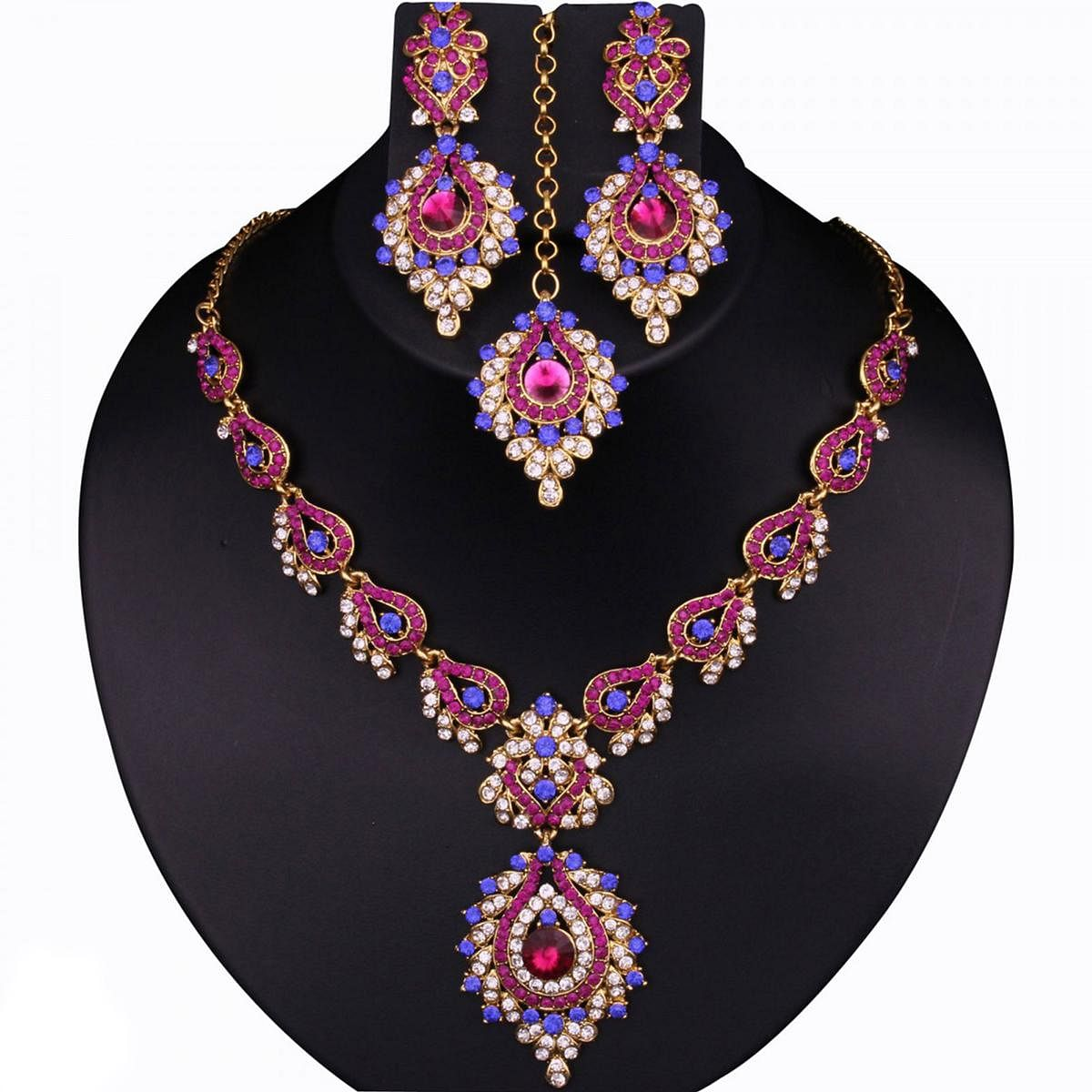 Kundan Blue & Pink Austrian Stone Gold Finish Necklace Sets With Maang Tikka