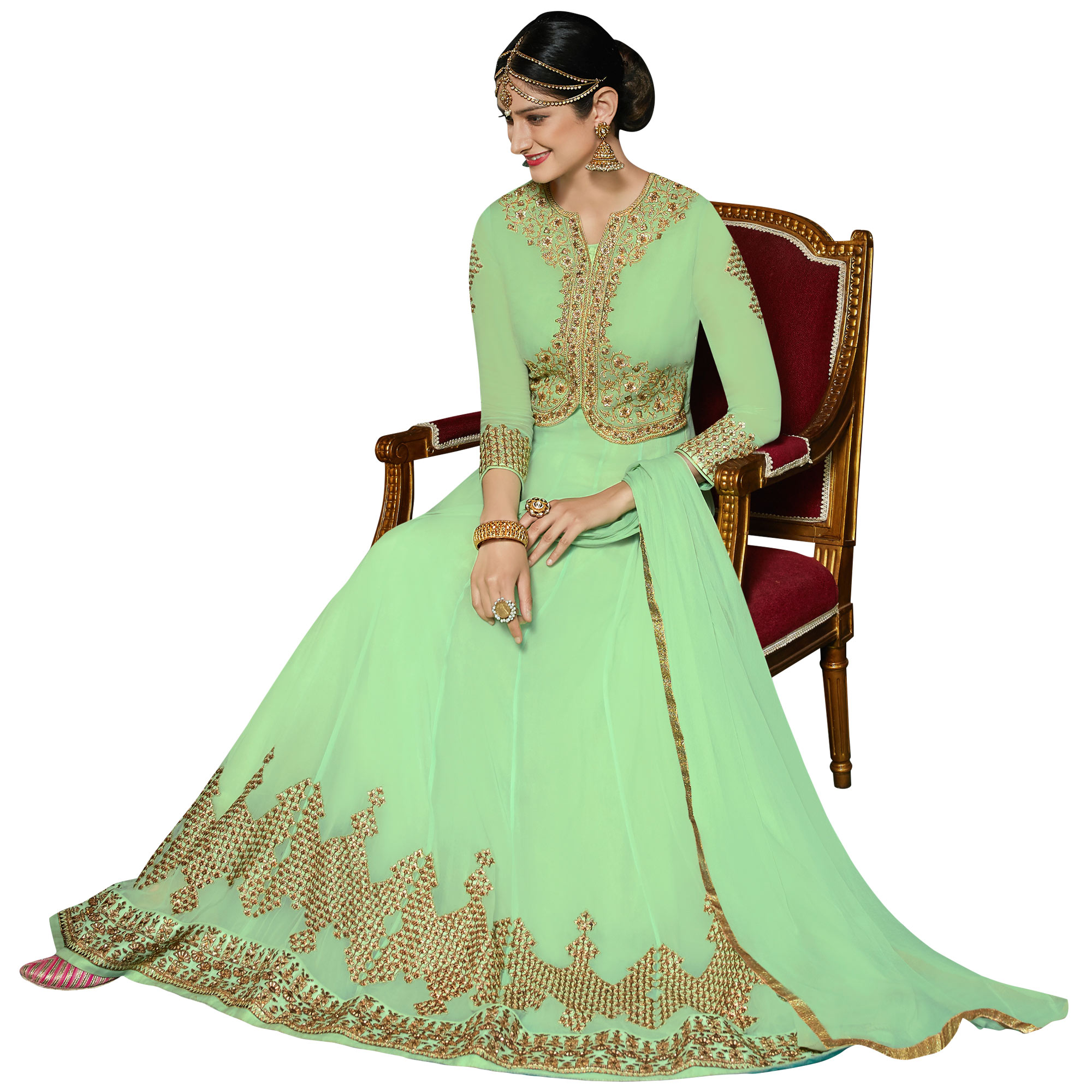 Demanding Pista Green Colored Partywear Embroidered Georgette Anarkali Suit