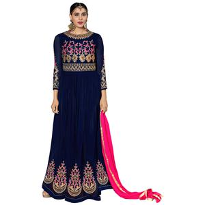 Arresting Navy Blue Colored Partywear Embroidered Georgette Abaya Style Anarkali Suit
