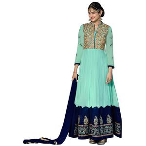 Exceptional Turquoise Green Colored Partywear Embroidered Anarkali Suit