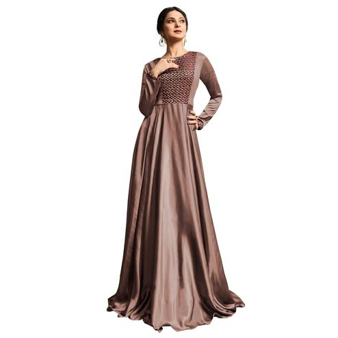 Exceptional Light Brown Colored Partywear Embroidered Silk Gown