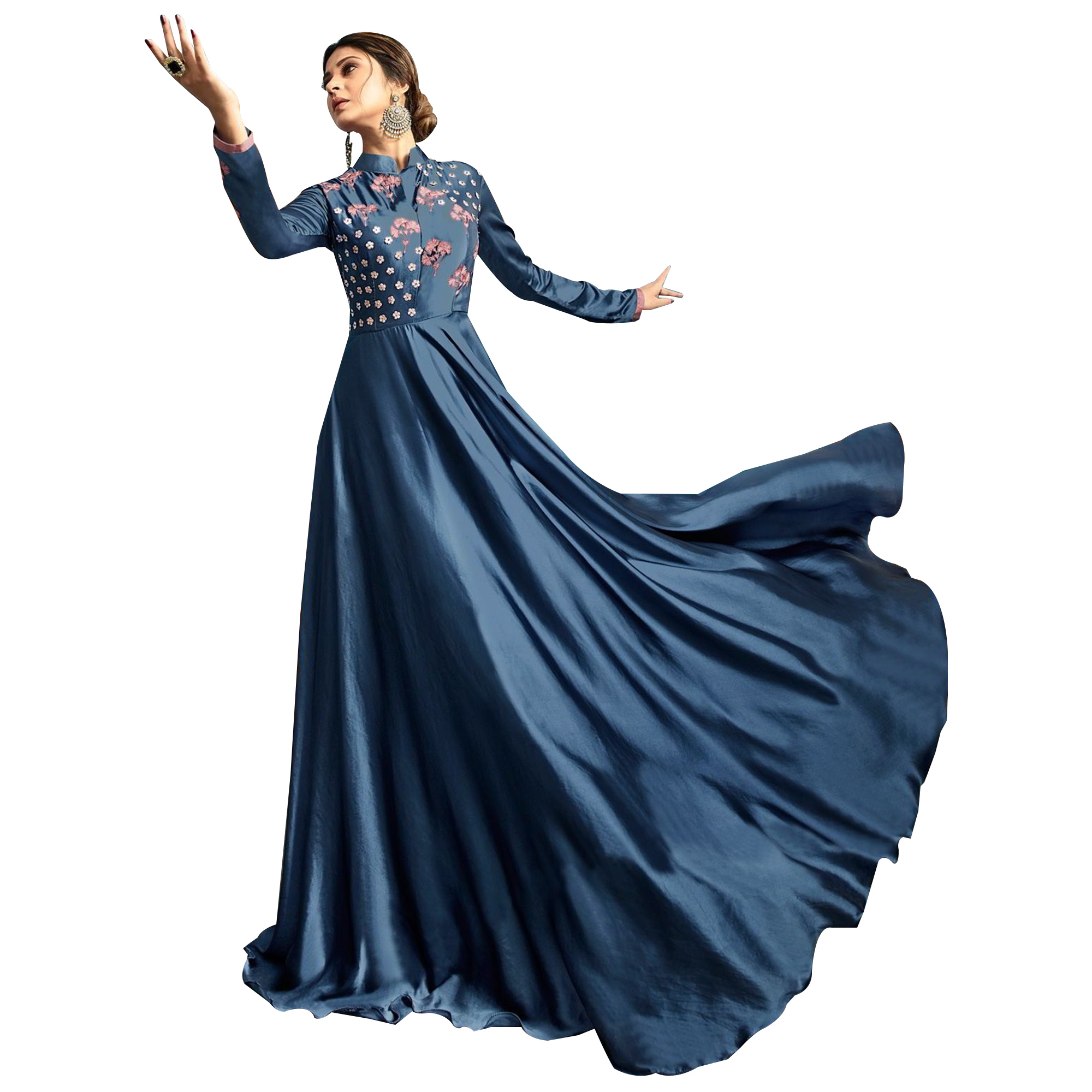 Arresting Blue Colored Partywear Embroidered Silk Gown