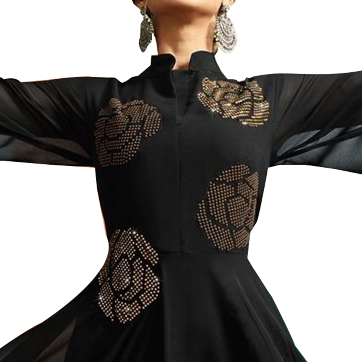 Hypnotic Black Colored Partywear Embroidered Silk Gown