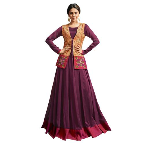 Majestic Purple Colored Partywear Embroidered Silk Gown