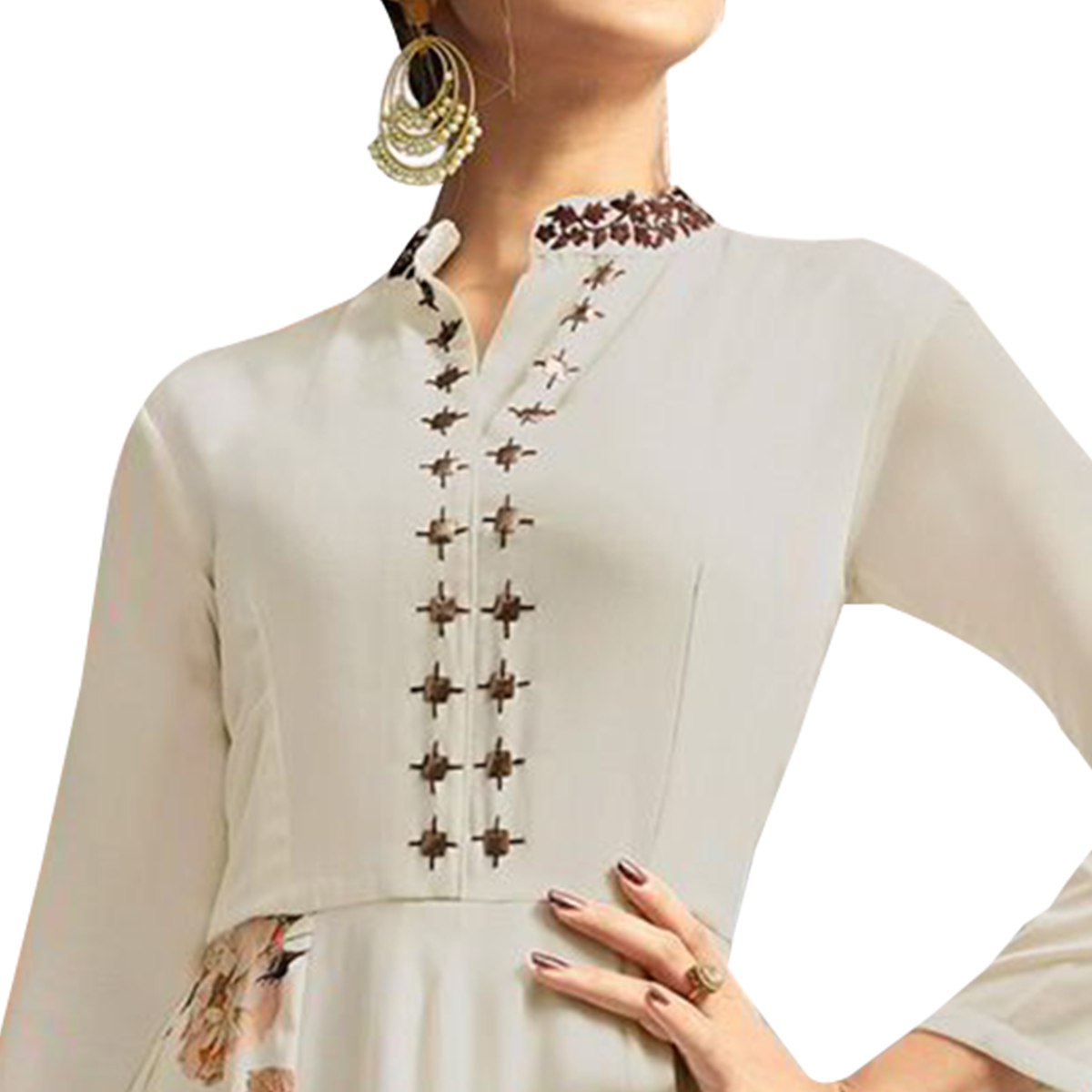 Blooming White Colored Partywear Embroidered Silk Gown