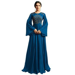 Amazing Blue Colored Partywear Embroidered Silk Gown