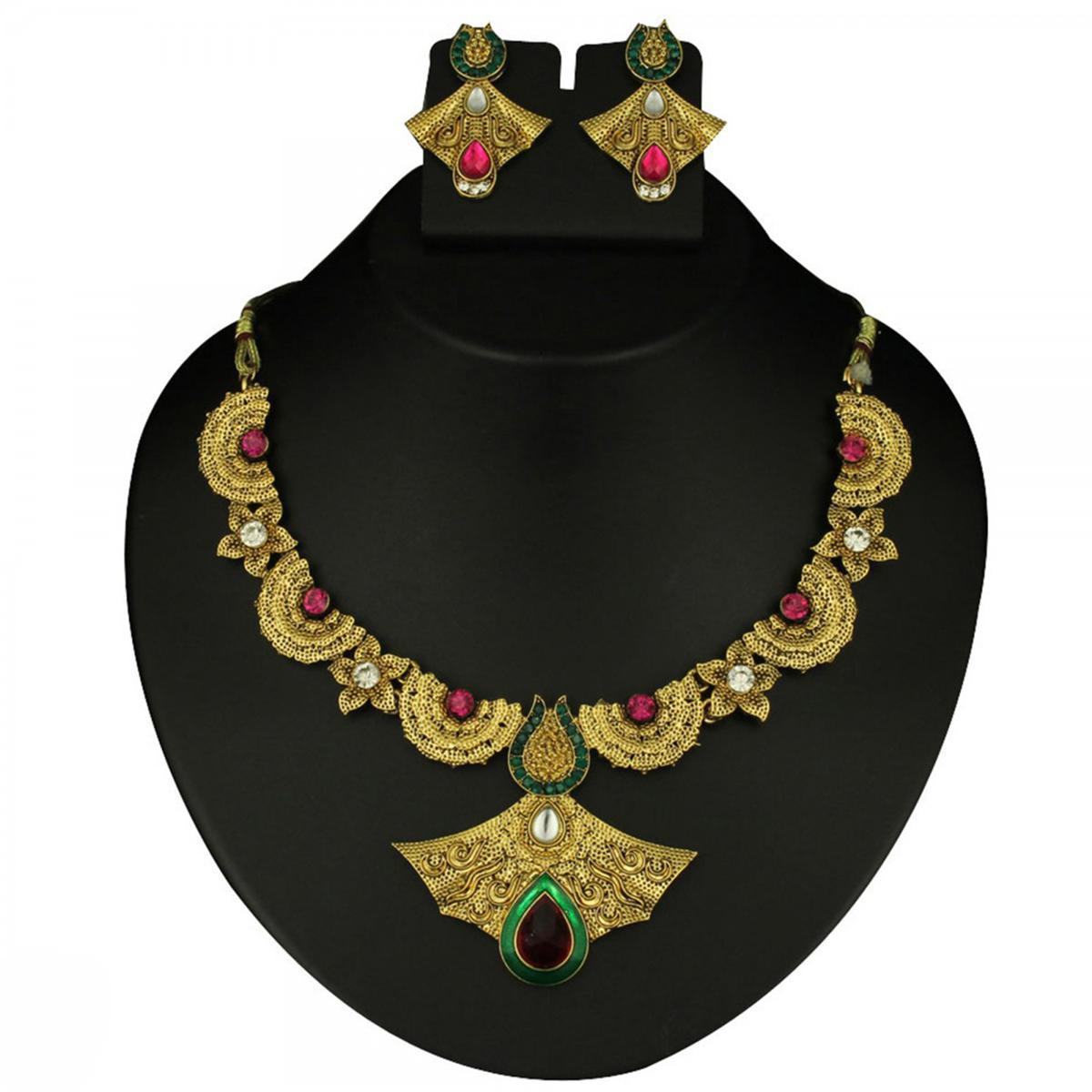 Pink & Green Austrian Stone Meenakari Gold Finish Necklace Sets