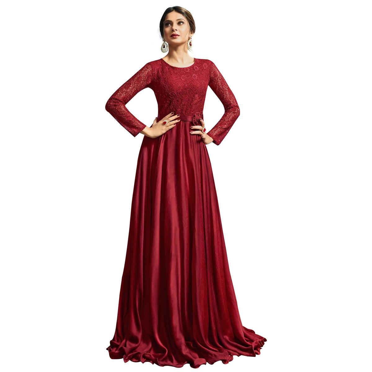 Stylish Red Colored Partywear Embroidered Silk Gown