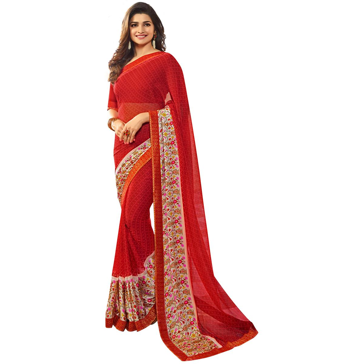 Adorning Red Colored Casual Printed Silk Saree