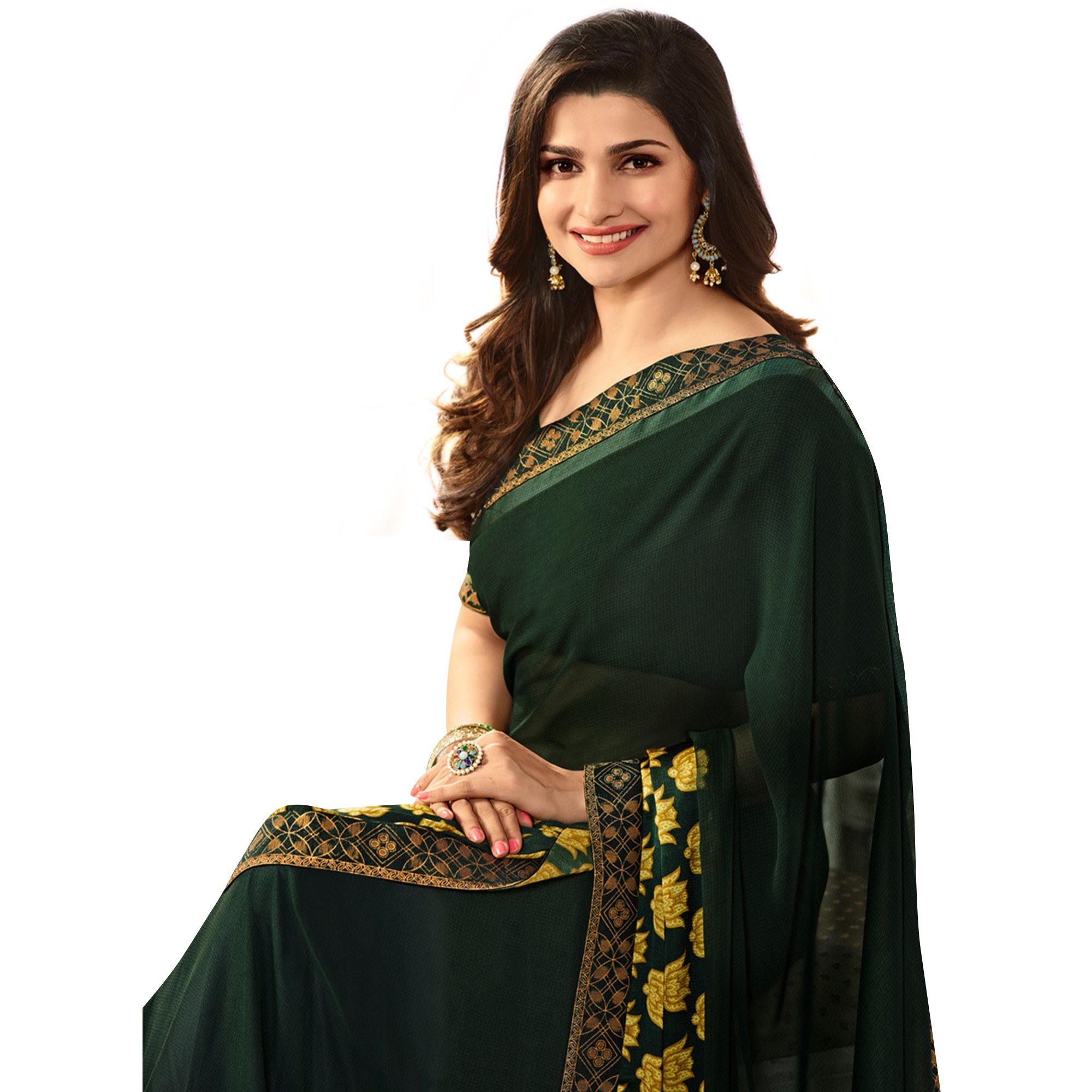 Amazing Dark Green Colored Casual Printed Silk Saree
