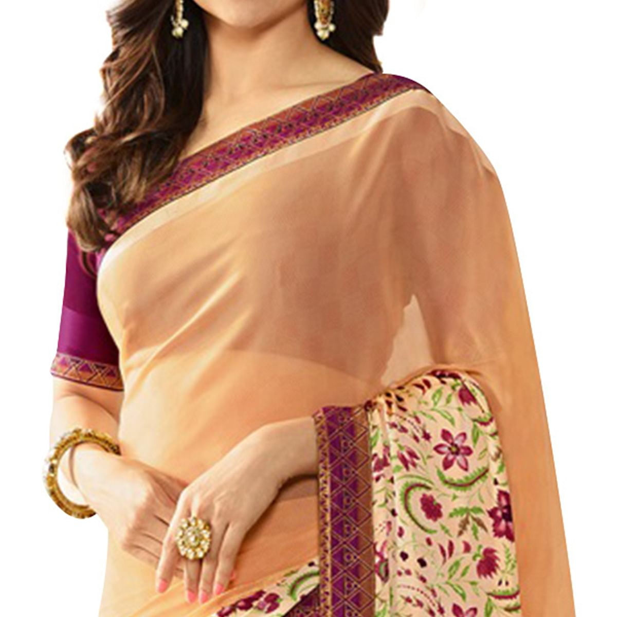 Pleasant Beige Colored Casual Printed Silk Saree
