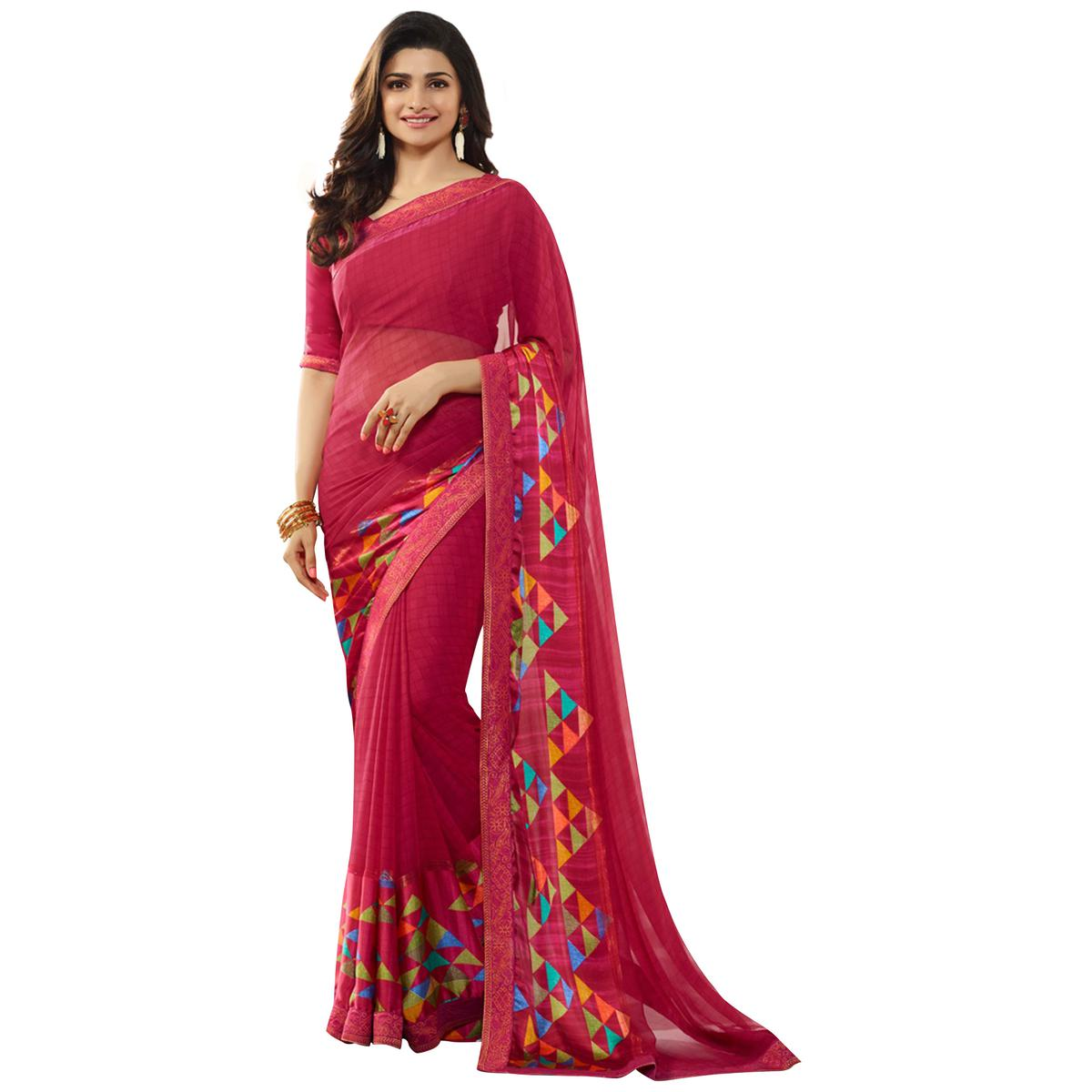 Charming Pink Colored Casual Printed Silk Saree
