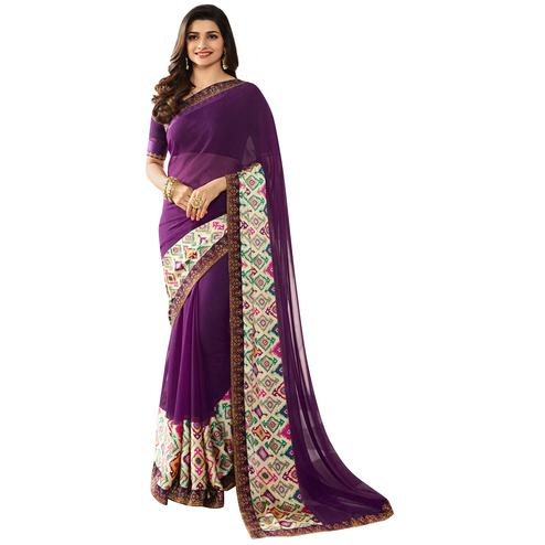 Perfect Purple Colored Casual Printed Silk Saree