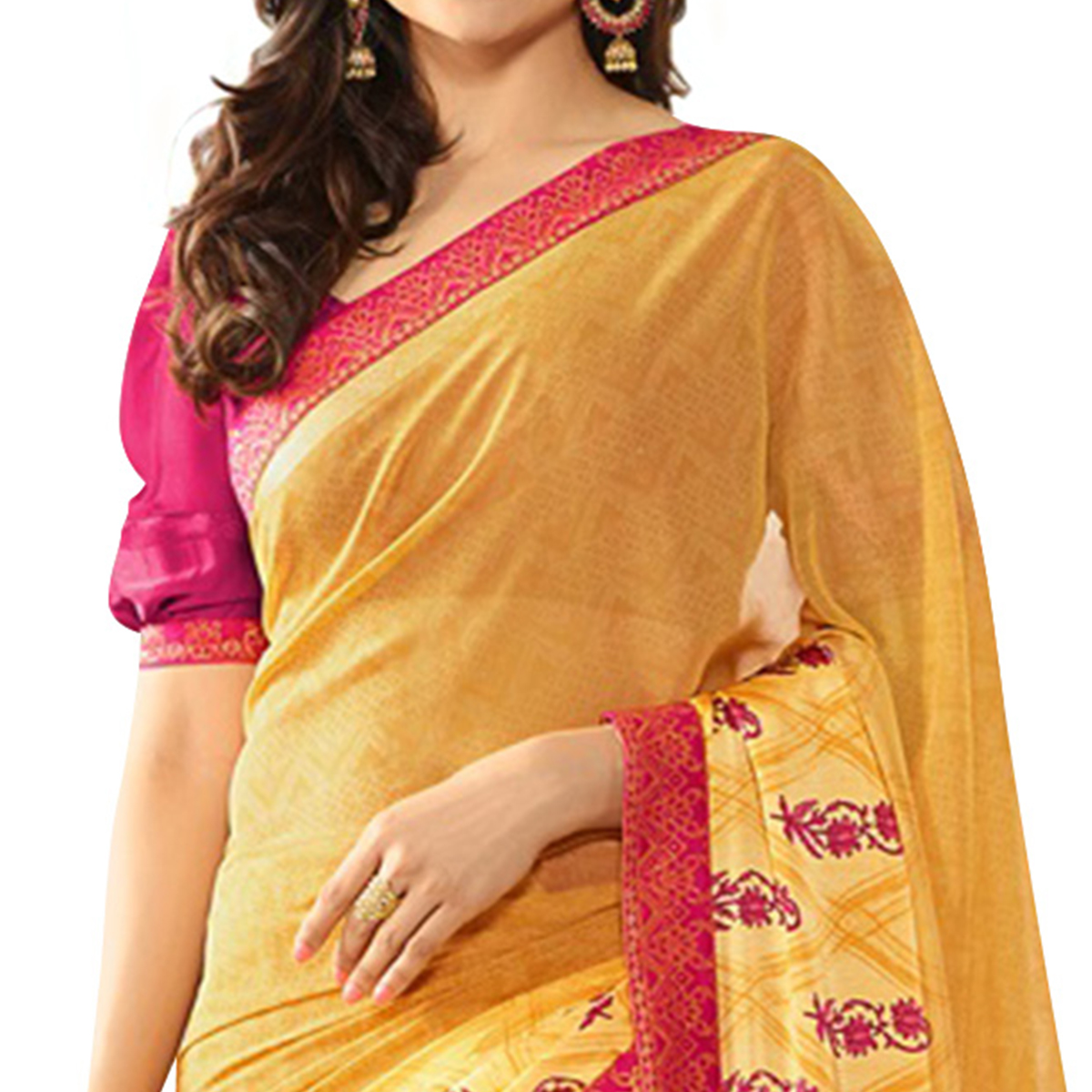 Glowing Yellow Colored Casual Printed Silk Saree