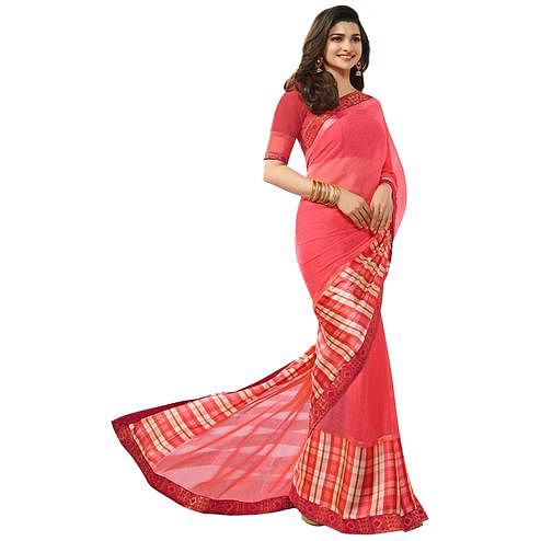 Desiring Pink Colored Casual Printed Silk Saree
