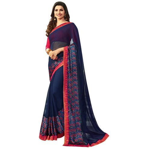 Majestic Navy Blue Colored Casual Printed Silk Saree