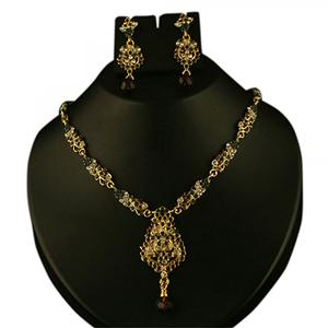 Green & Maroon Austrian Stone Gold Finish Necklace Sets