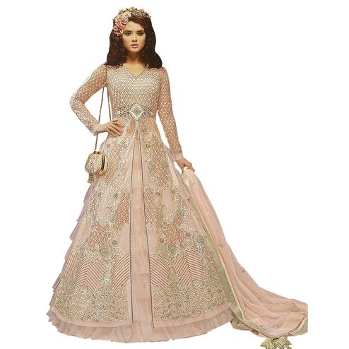 Gleaming Pink Colored Partywear Embroidered Net Lehenga Kameez