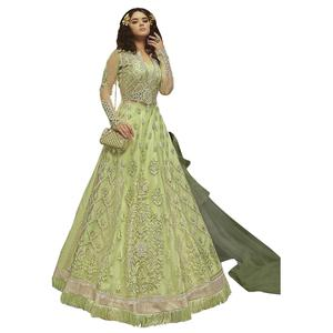Pleasant Pista Green Colored Partywear Embroidered Net Lehenga Kameez