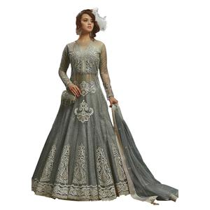 Eye-Catching Gray Colored Partywear Embroidered Net Lehenga Kameez