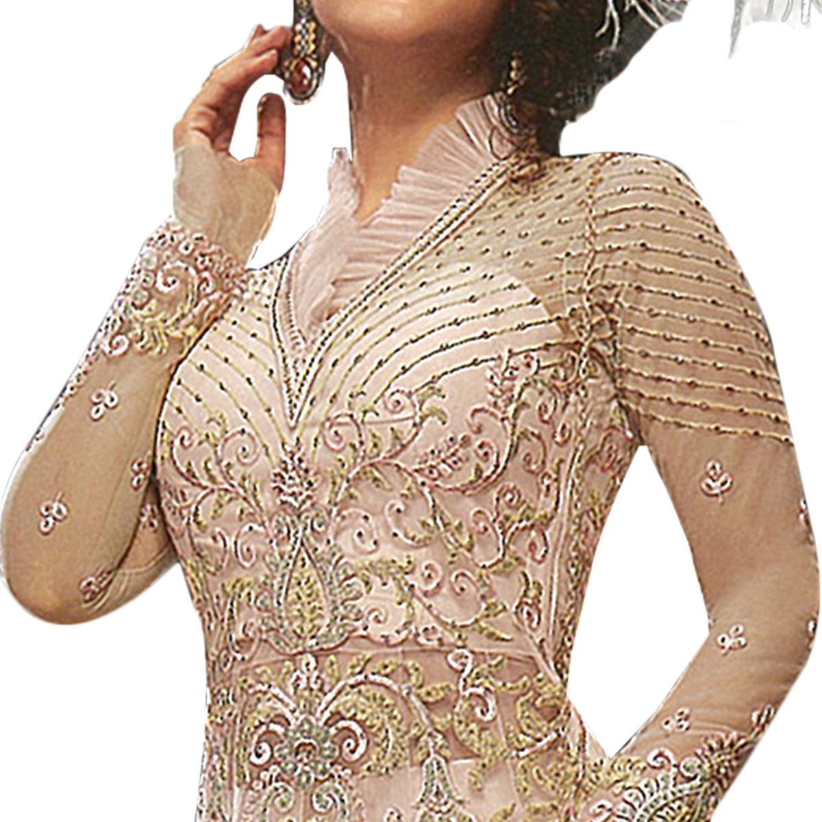 Attractive Pastel Peach Colored Partywear Embroidered Net Lehenga Kameez
