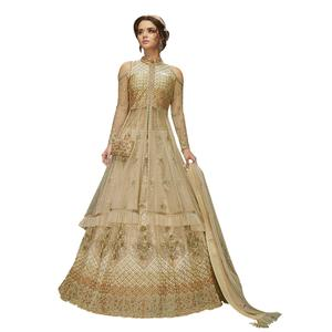 Impressive Cream Colored Partywear Embroidered Net Lehenga Kameez