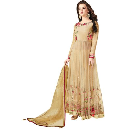 Arresting Beige Colored Partywear Embroidered Silk-Net Anarkali Suit