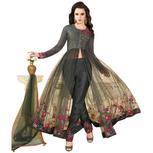 Demanding Dark Gray Colored Partywear Embroidered Silk-Net Anarkali Suit