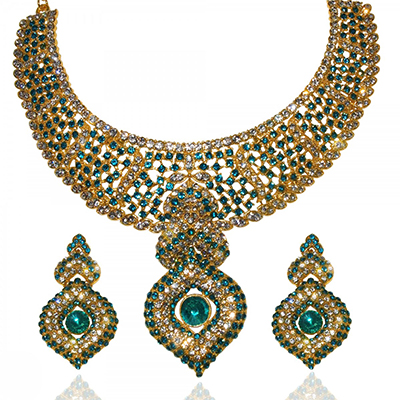 Exclusive Design Necklace Set in Blue Color