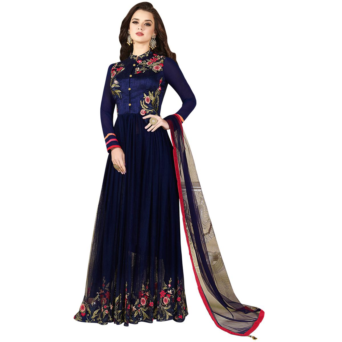 Glowing Navy Blue Colored Partywear Embroidered Silk-Net Anarkali Suit