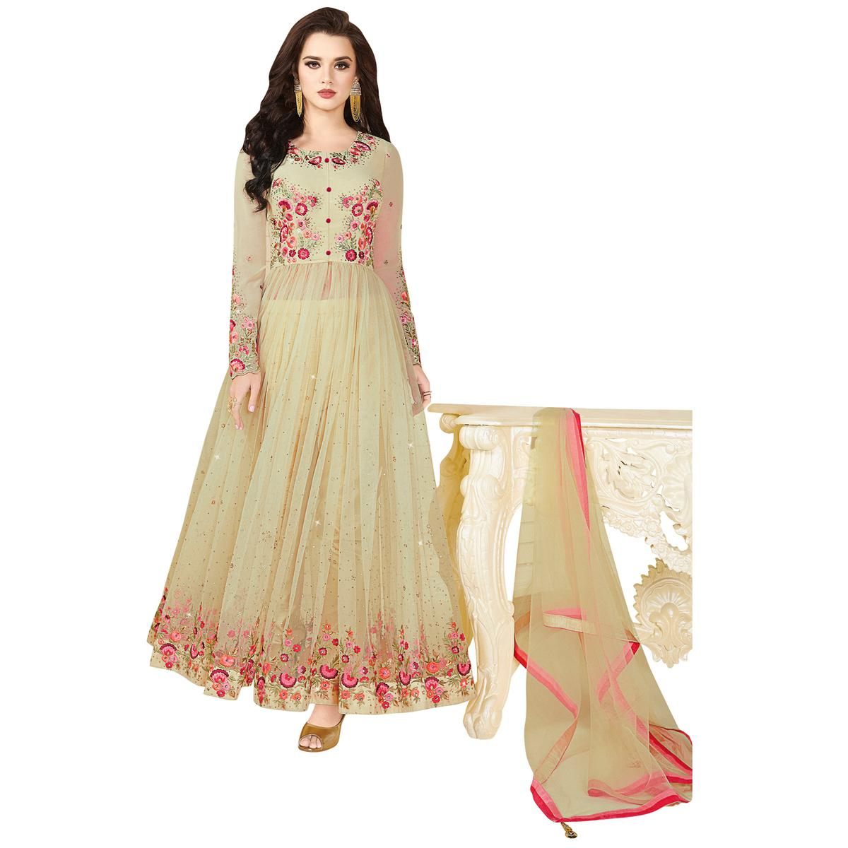 Stylish Cream Colored Partywear Embroidered Georgette-Net Anarkali Suit