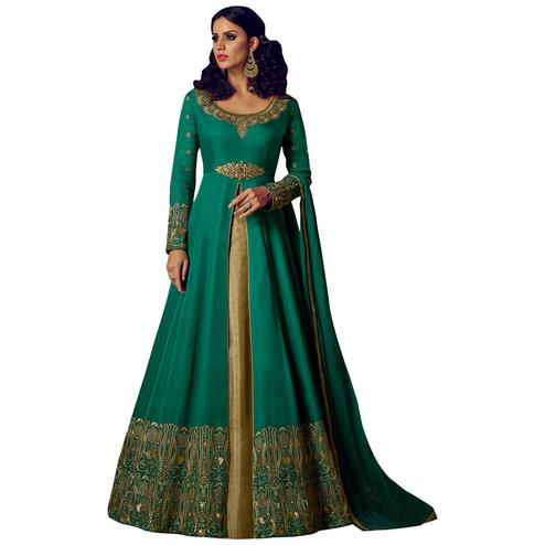 Beautiful Green Colored Party Wear Embroidered Lehenga Kameez