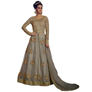 Graceful Grey Colored Party Wear Embroidered Lehenga Kameez