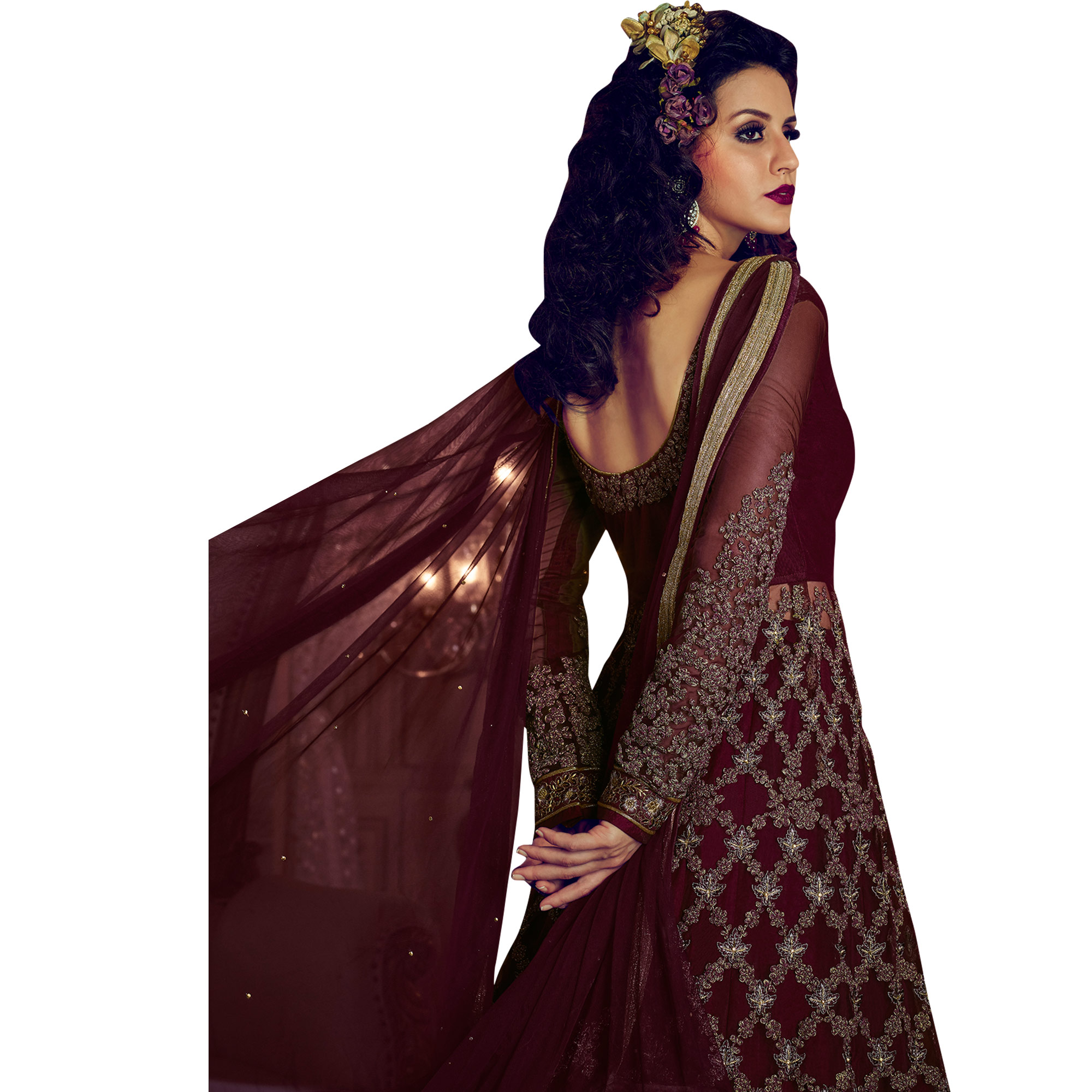Vivid Wine Colored Party Wear Embroidered Lehenga Kameez