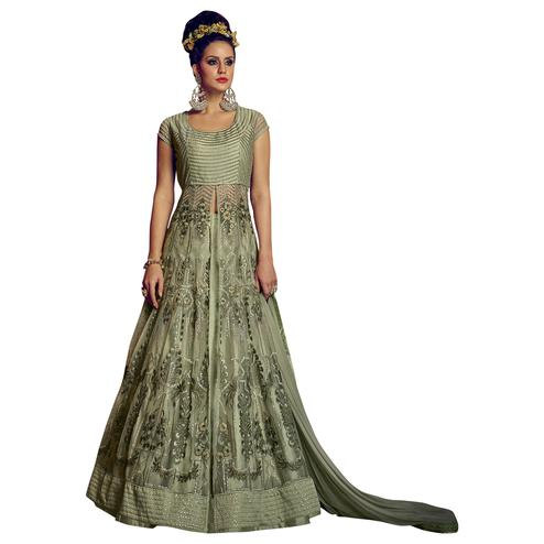 Adorable Green Colored Party Wear Embroidered Lehenga Kameez