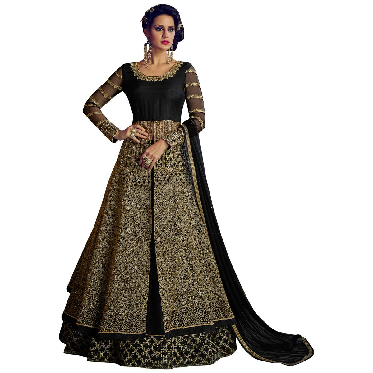 Magical Black Colored Party Wear Embroidered Lehenga Kameez